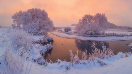 Winter morning. Scenic winter landscape at sunrise