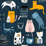 Seamless pattern with cute Kittens in diferent style. Creative childish texture. Great for fabric, textile Vector Illustration - 244086800