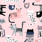 Seamless pattern with cute colorful Kittens. Creative childish texture. Great for fabric, textile Vector Illustration - 244086821
