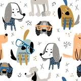 Childish seamless pattern with funny creative dogs in glasses. Trendy scandinavian vector background. Perfect for kids apparel,fabric, textile, nursery decoration,wrapping paper - 244086831