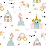 Childish seamless pattern with princess, castle, carriage in scandinavian style. Creative vector childish background for fabric, textile - 244089439