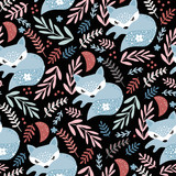 Seamless woodland pattern with sleeping fox and floral elements . Creative kids for fabric, wrapping, textile, wallpaper, apparel. Vector illustration - 244089463
