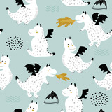 Childish seamless pattern with cute dragons in scandinavian style. Creative vector childish background for fabric, textile - 244089494
