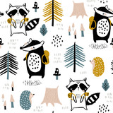 Seamless childish pattern with tourist raccoon with beaver in the forest. Creative kids woodland for fabric, wrapping, textile, wallpaper, apparel. Vector illustration - 244089495
