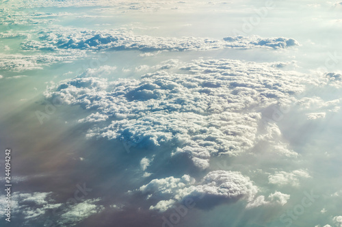 Beautiful clouds over ground. Aerial view. - 244094242
