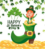 happy st patrick celebration and woman inside boot - 244116209