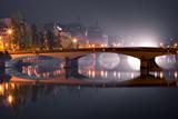 Night Seine in Paris, France