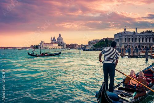 Gondola en Plaza San Marcos, Venezia, Italia.
