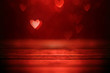 Bright red hearts abstract bokeh background