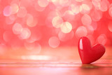 Single heart and red bokeh abstract background - 244136812