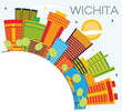 Wichita Kansas USA City Skyline with Color Buildings, Blue Sky and Copy Space.