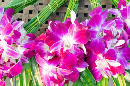 The orchids that are prepared on the wicker for texture backgrounds - 244143855