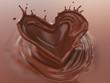 Chocolate Splash In Heart Shape, Love of Valentine's day celebration, 3d illustration.