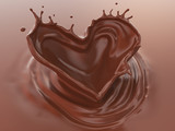 Chocolate Splash In Heart Shape, Love of Valentine's day celebration, 3d illustration. - 244147229
