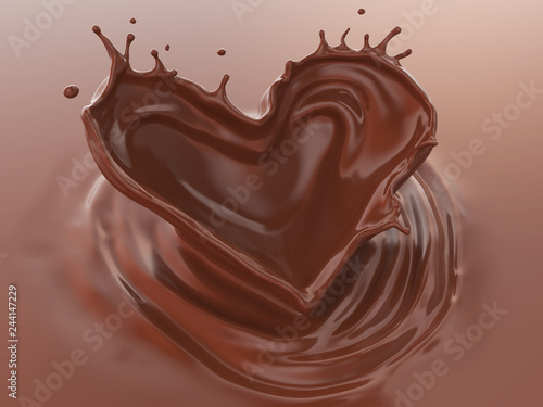 fototapeta na ścianę Chocolate Splash In Heart Shape, Love of Valentine's day celebration, 3d illustration.