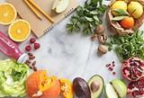 Seasonal healthy plant based food cooking ingredients. Meals variete for vegetarian, clean eating, keto and super food concepts. Overhead view, copy space - 244187806