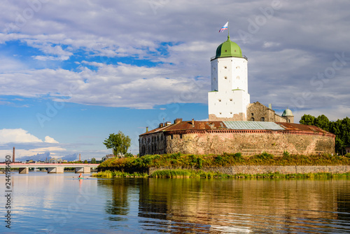 Sticker Sightseeing of Russia. Vyborg castle - medieval castle in Vyborg town, a popular architectural landmark, Russia