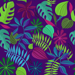 Seamless pattern with tropical leaves. Cartoon Vector Illustration