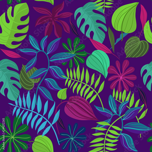 Seamless pattern with tropical leaves. Cartoon Vector Illustration © FILINmore