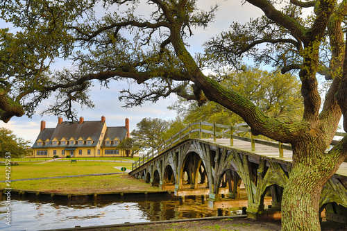 Wall mural The historic landmark footbridge in Currituck Heritage Park leads to the Whalehead Club. This is located in the Outer Banks of North Carolina.