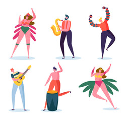 Brazilian Carnival Band Character Set. Fashion Woman in Feather Bikini Dress Dance at Brazil Music Festival. Man Play Guitar and Saxophone for Summer Holiday Isolated Flat Cartoon Vector Illustration © ivector