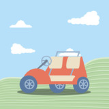 golf car in grass with sky and clouds