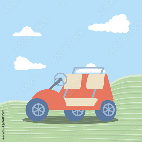 golf car in grass with sky and clouds - 244250612