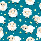 Seamless cartoon sweet dreams sheep animal pattern. Vector illustration