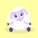 Vector cartoon cute white sheep on yellow blackground