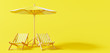 Leinwandbild Motiv Beach umbrella with beach chairs on yellow background. summer vacation concept. 3d rendering