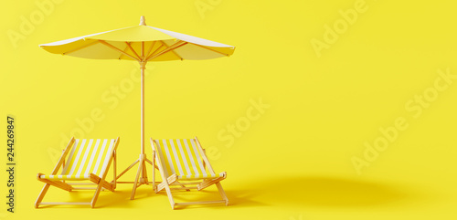 Beach umbrella with beach chairs on yellow background. summer vacation concept. 3d rendering © aanbetta