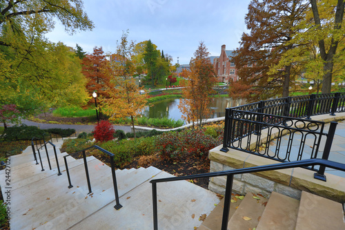 Mirror Lake on the campus of The Ohio State University is a popular landmark.  Recent renovations added extensive landscaping. - 244270237