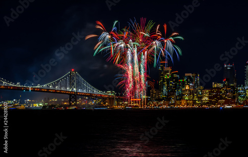 Wall mural Fireworks in the Bay Area