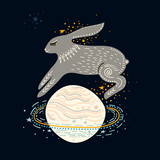 Fototapeta Kosmos - Vector childish illustration. Hand-drawn  rabbit jumping over the Saturn planet   © struvictory
