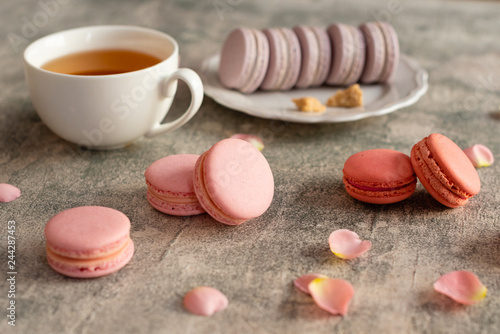 Wedding, St. Valentine's Day, birthday, preparation, holiday. Beautiful pink tasty macaroons on a concrete background