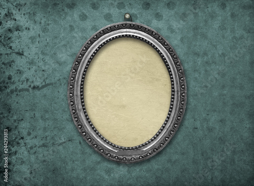 Wooden vintage silver victorian tondo frame for museum exhibition