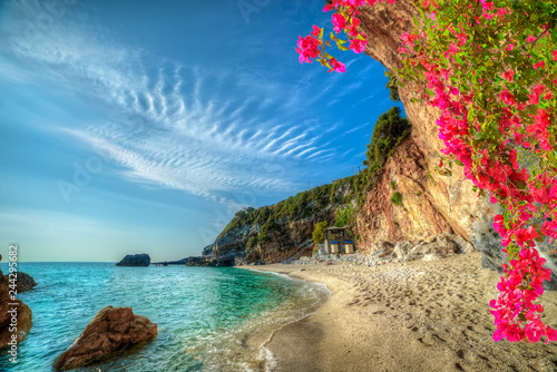 Beautiful vacation landscape in Greece,  sea and beach in summer holiday in Corfu island - 244295682