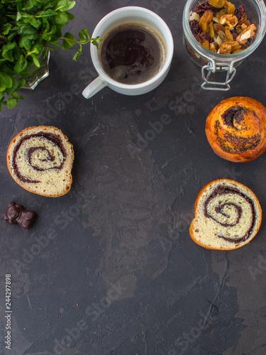 breakfast, coffee, bun with poppy seeds (sweet food, snack). top, food background copy space