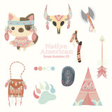 peach native american cute illustrations