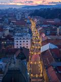 Zagreb main street ilica at evening