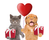 Fototapeta Psy - Kitten and puppy with heart shaped balloon and gifts. isolated on white background © Ermolaev Alexandr