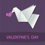 Vector greeting card with origami dove and heart