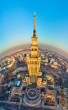 WARSAW, POLAND - DECEMBER 01, 2018: Beautiful panoramic aerial drone view to the center of Warsaw City and Palace of Culture and Science - a notable high-rise building in Warsaw, Poland