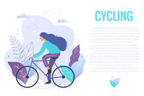 Woman riding a bicycle in park trendy vector illustration. - 244339658