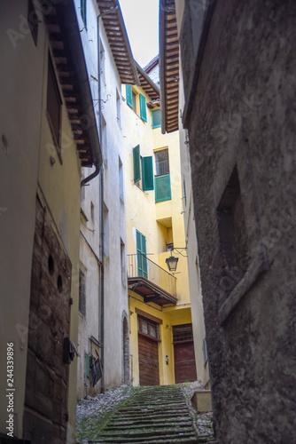 Italian village, alley. Spoleto, Italy
