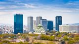 Fototapeta Fototapety miasto - Osaka, Japan at skyline and castle in springtime from above. © SeanPavonePhoto