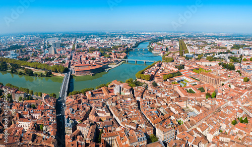 Fridge magnet Toulouse aerial panoramic view, France