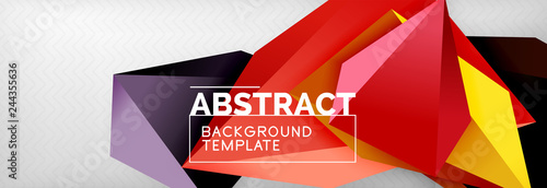3d polygonal shape geometric background, triangular modern abstract composition - 244355636