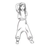 Hip hop dancing girl. Pretty Young Urban Rap Girl. Vector illustration