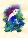 beautiful woman. fantasy illustration. watercolor painting - 244357006